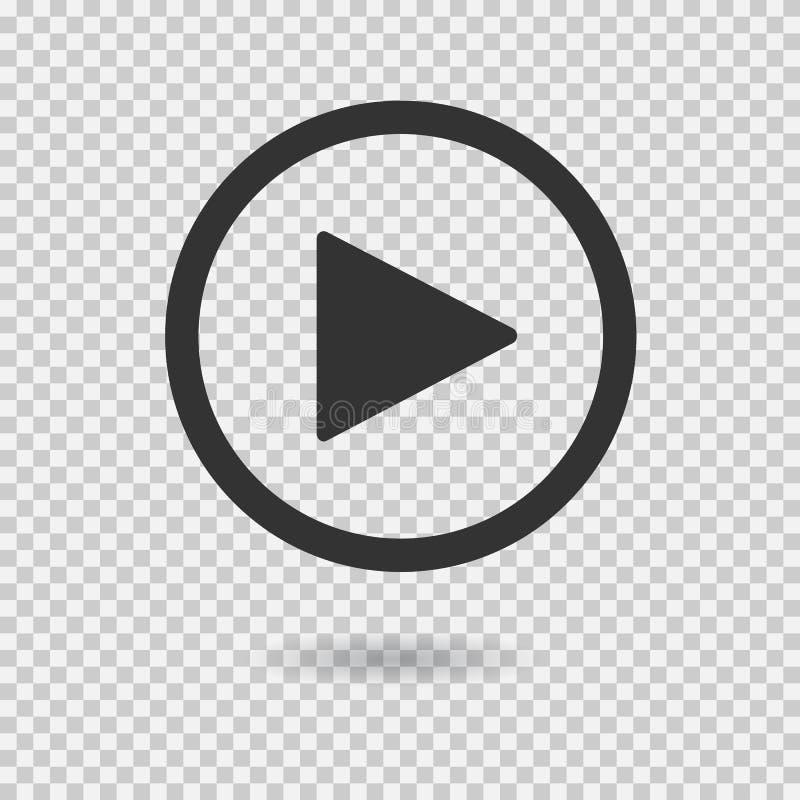 Кнопка игры с тенью на прозрачной предпосылке иллюстрация штока