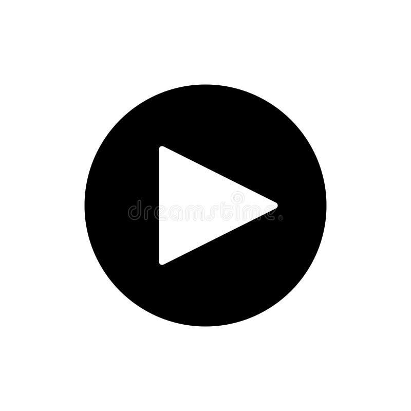 Кнопка игры vector значок в линейном стиле изолированный на белизне Тональнозвуковой или видео- значок иллюстрация вектора