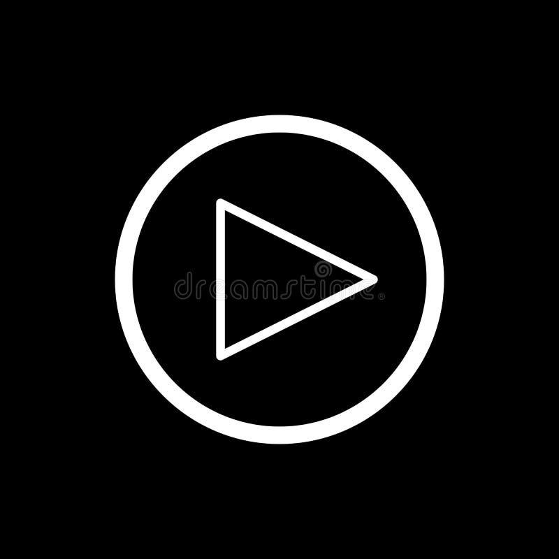 Кнопка игры vector значок в линейном стиле изолированный на черноте Тональнозвуковой или видео- значок бесплатная иллюстрация
