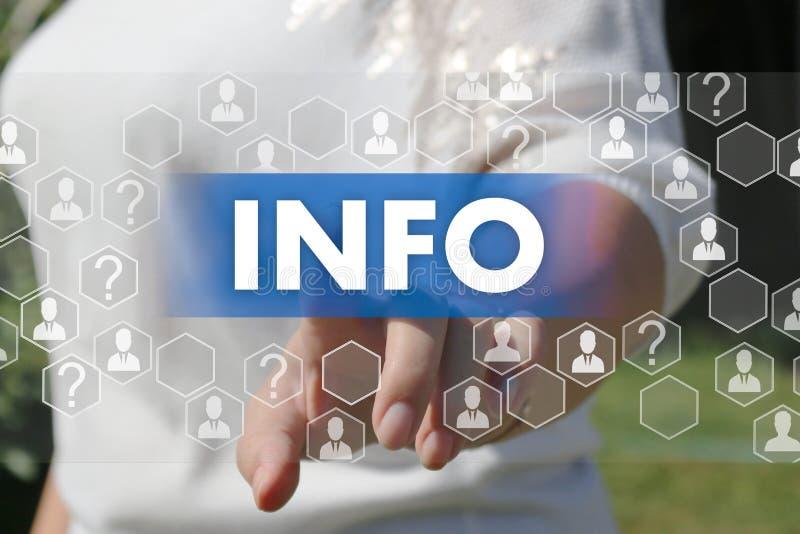 Кнопка информации Концепция получать информацию стоковое изображение rf