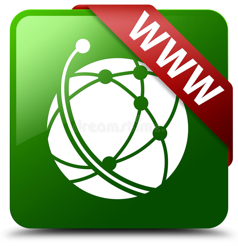 Кнопка квадрата зеленого цвета значка глобальной вычислительной сети WWW бесплатная иллюстрация