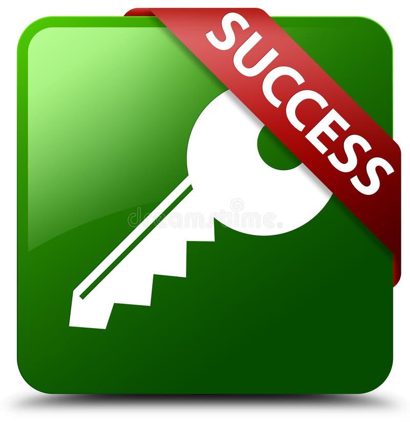 Кнопка квадрата зеленого цвета значка успеха ключевая иллюстрация вектора