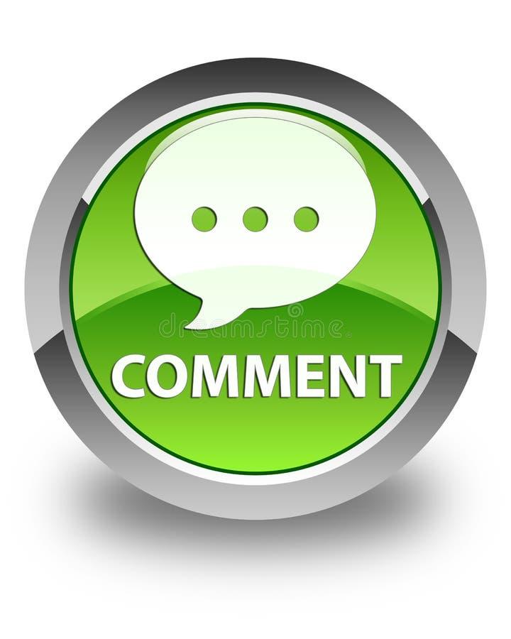 Кнопка комментария (значка переговора) лоснистая зеленая круглая иллюстрация штока