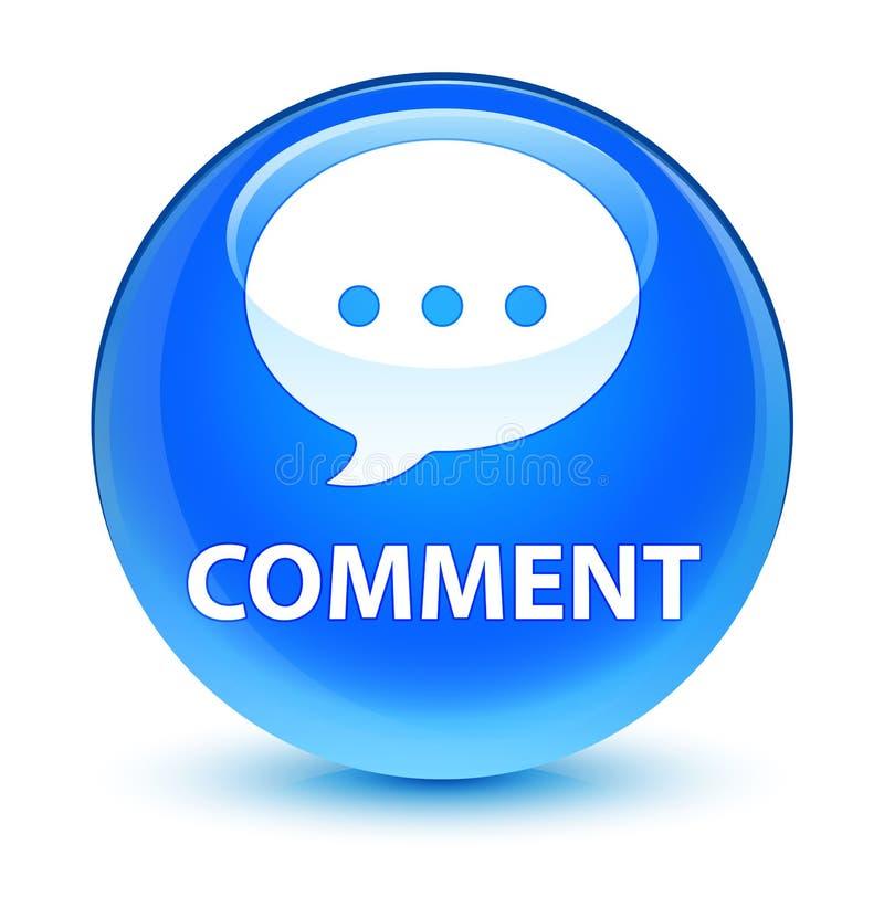 Кнопка комментария (значка переговора) стекловидная cyan голубая круглая иллюстрация штока