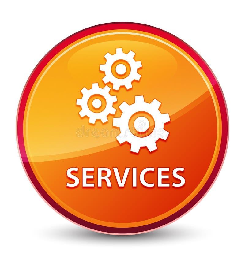 Кнопка обслуживаний (значка шестерней) особенная стекловидная оранжевая круглая иллюстрация штока