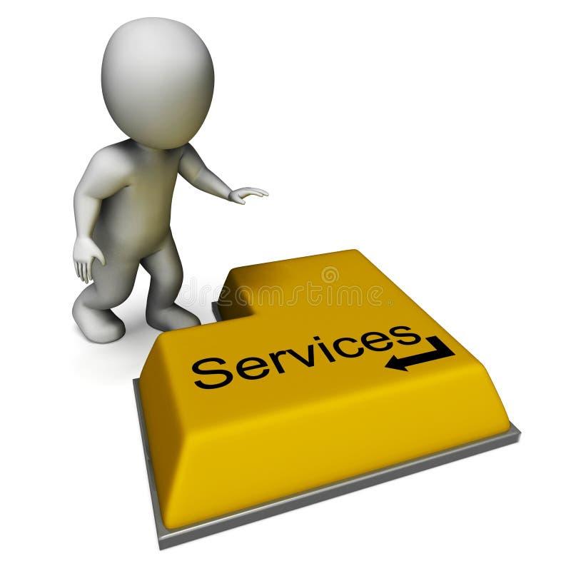 Кнопка обслуживаний показывает помощь или обслуживание иллюстрация штока