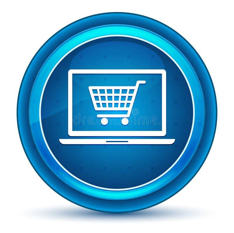 Кнопка онлайн зрачка значка ноутбука корзины голубая круглая иллюстрация вектора