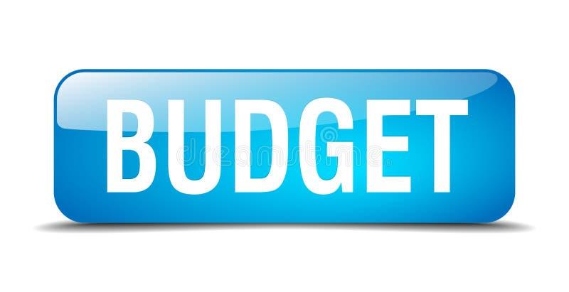 кнопка сети квадрата 3d бюджета голубая реалистическая иллюстрация вектора