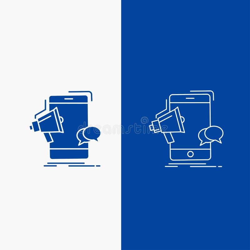 кнопка сети портативного магнитофона, маркетинга, черни, мегафона, линии продвижения и глифа в знамени голубого цвета вертикально бесплатная иллюстрация