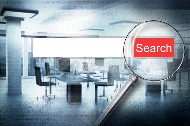 Кнопка сигнала тревоги бара поиска сети развертки увеличителя с современной иллюстрацией предпосылки 3D офиса бесплатная иллюстрация