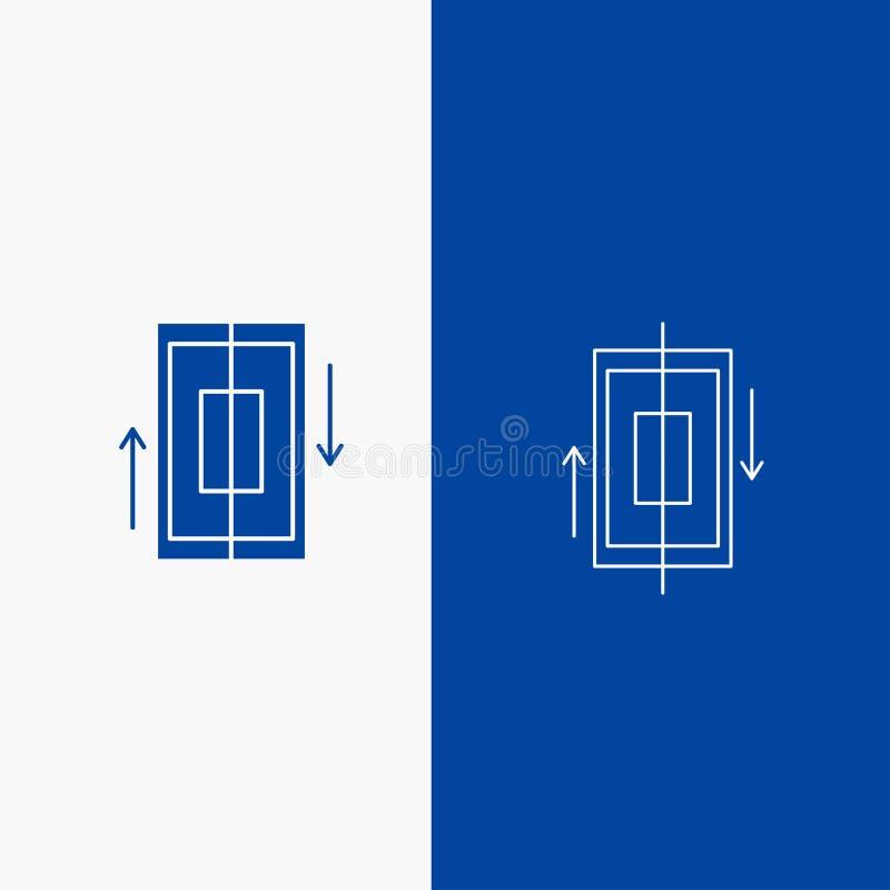 кнопка синхронизации, сети синхронизации, данных, телефона, линии смартфона и глифа в знамени голубого цвета вертикальном для UI  иллюстрация вектора