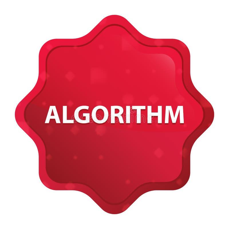 Кнопка стикера starburst алгоритма туманная розовая красная иллюстрация вектора