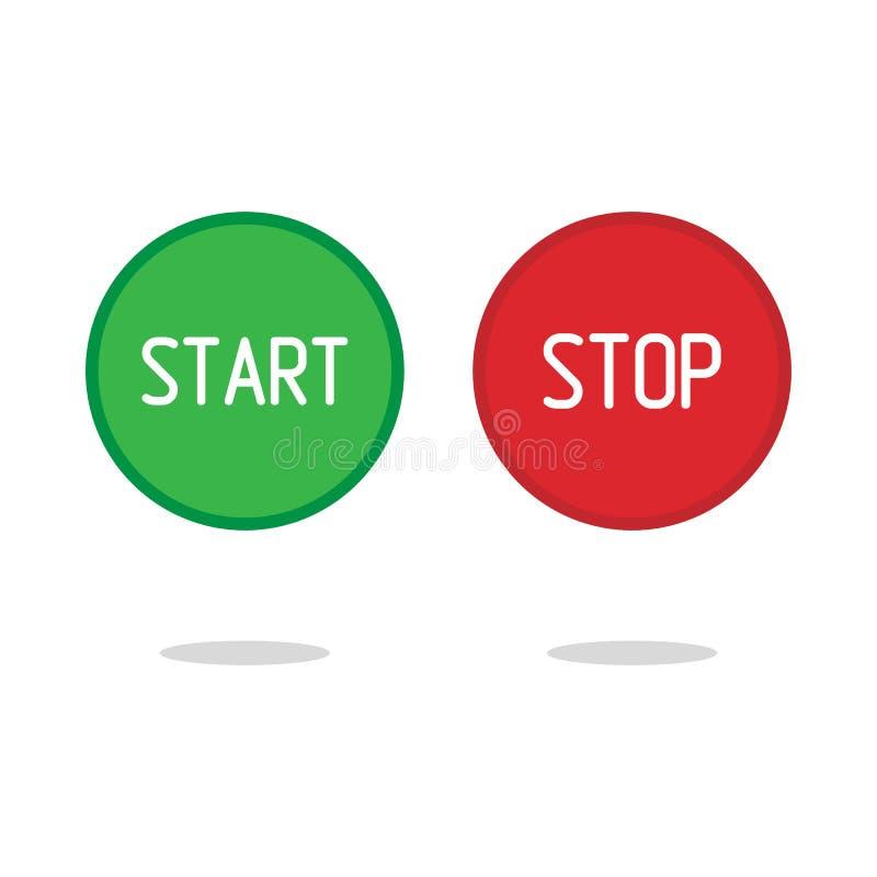 Кнопка стопа начала лоснистая, иллюстрация вектора бесплатная иллюстрация