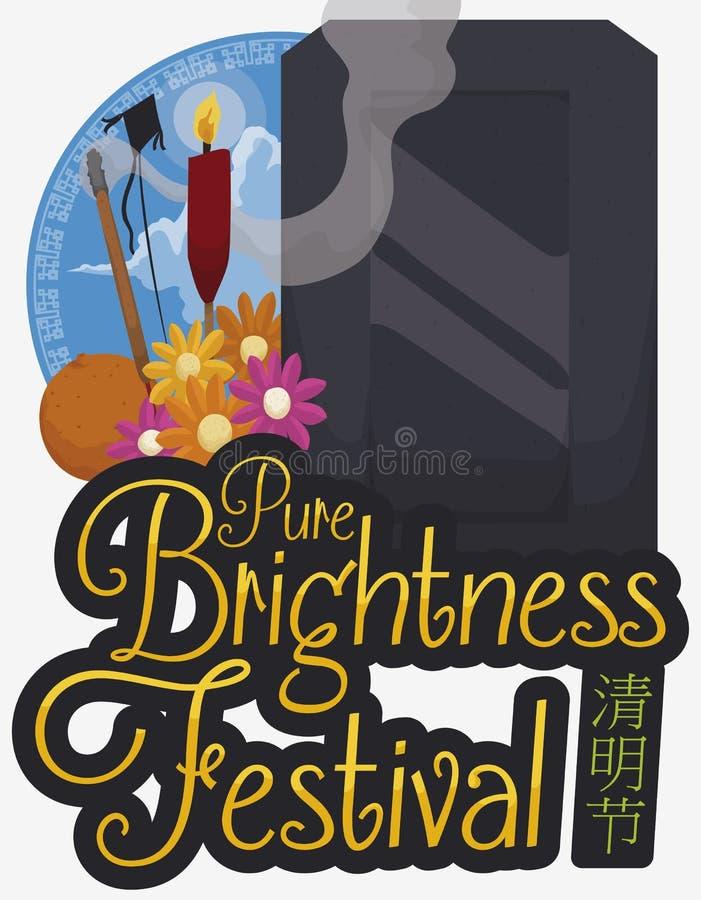 Кнопка с взглядом, предложениями и надгробной плитой неба для фестиваля Qingming, иллюстрации вектора иллюстрация штока