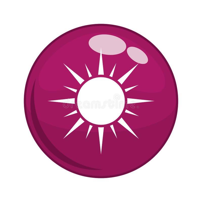 Кнопка с значком солнца иллюстрация штока
