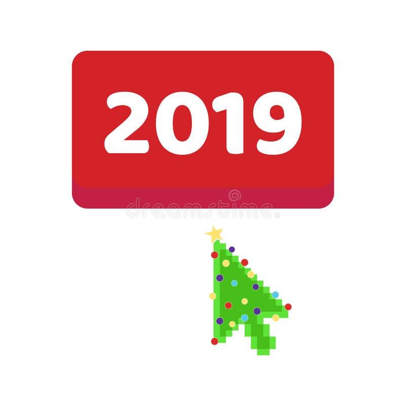 Кнопка 2019 с нажимом указателя пиксела рождественской елки курсора стрелки иллюстрация штока