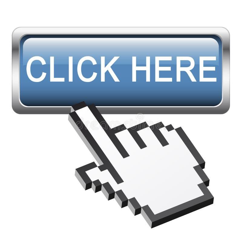 """Кнопка с рукой """" пиксела 3D графической; Нажмите здесь иллюстрация вектора"""