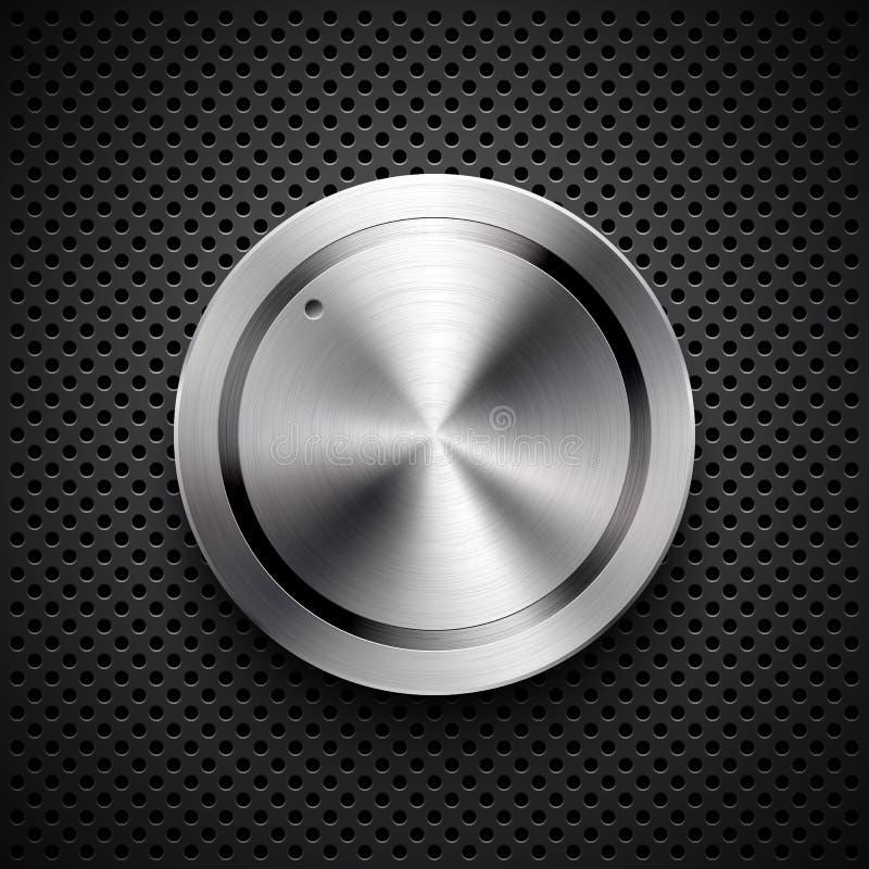 Кнопка тома технологии с текстурой металла стоковые фотографии rf