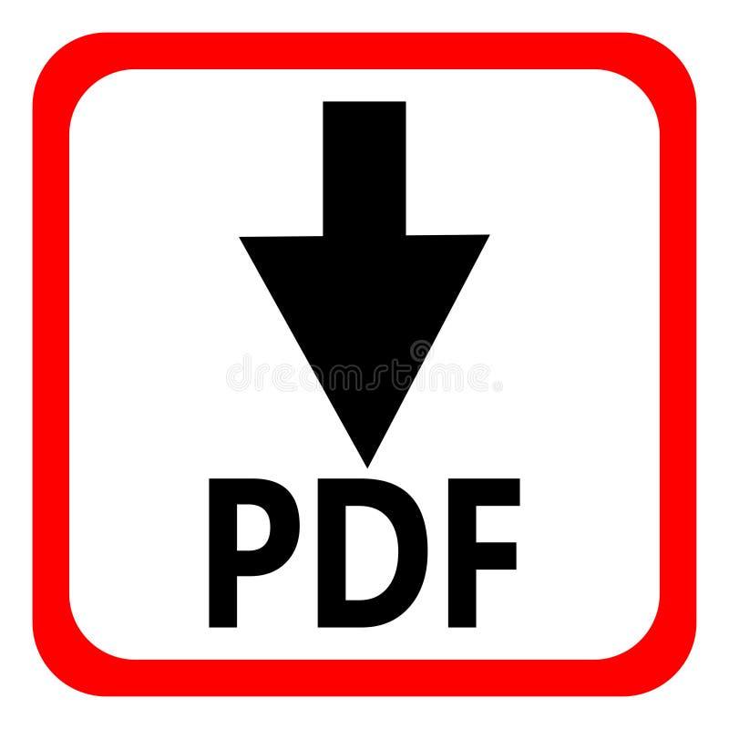 Кнопка файла PDF загрузки изолированная на белой предпосылке также вектор иллюстрации притяжки corel иллюстрация штока
