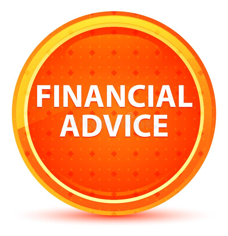 Кнопка финансового совета естественная оранжевая круглая иллюстрация вектора