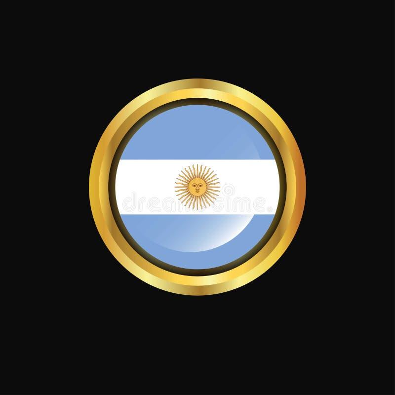 Кнопка флага Аргентины золотая иллюстрация вектора