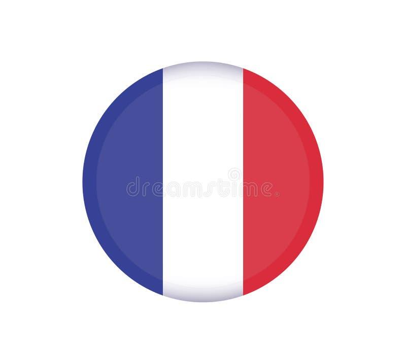 Кнопка флага ФРАНЦИИ Значок вектора флага Франции круглый - иллюстрация иллюстрация вектора