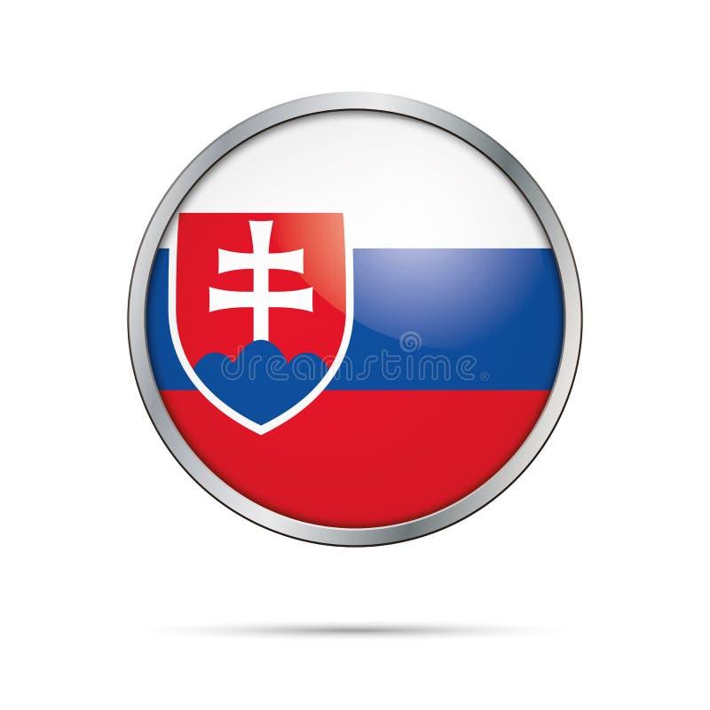 Кнопка флага вектора Slovakian Флаг Словакии в стеклянном styl кнопки иллюстрация вектора