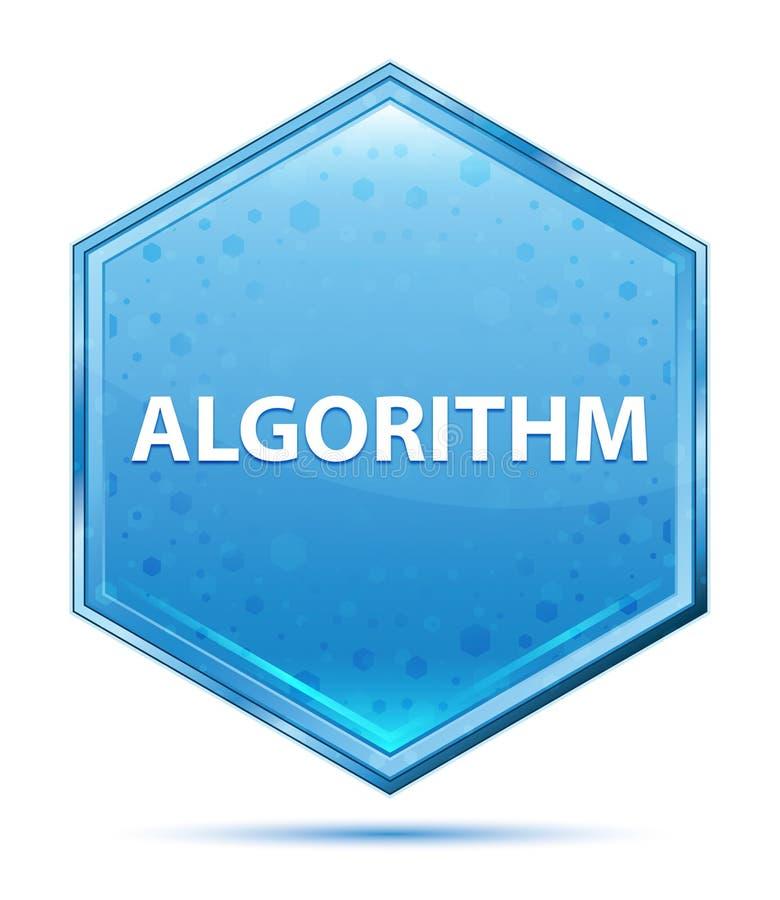 Кнопка шестиугольника алгоритма кристаллическая голубая иллюстрация штока