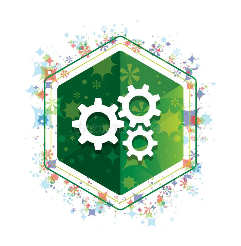 Кнопка шестиугольника зеленого цвета картины заводов значка шестерней установок флористическая иллюстрация штока