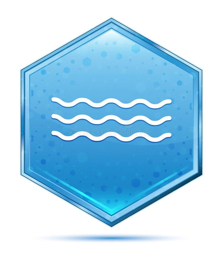 Кнопка шестиугольника значка волн моря кристаллическая голубая иллюстрация вектора