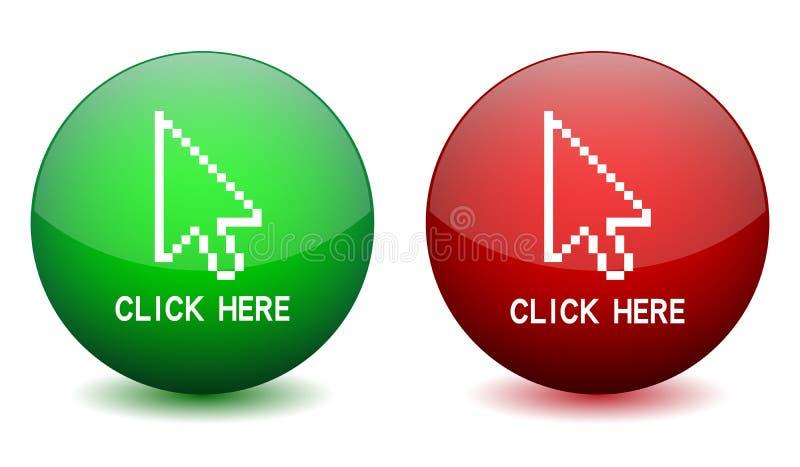 кнопка щелкает здесь иллюстрация вектора