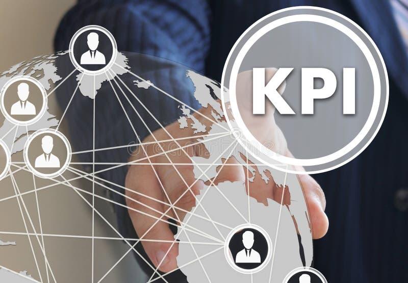 кнопка KPI, индикатор ключевой производительности на экране касания в глобальной вычислительной сети стоковое изображение
