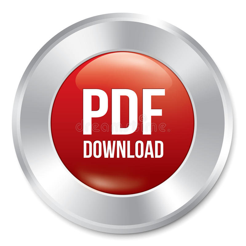 Кнопка PDF загрузки. Стикер вектора красный круглый. иллюстрация вектора