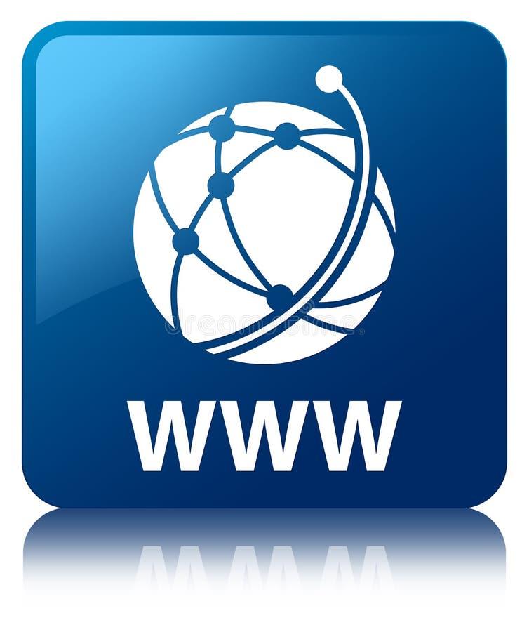 Кнопка WWW (значка глобальной вычислительной сети) голубая квадратная бесплатная иллюстрация