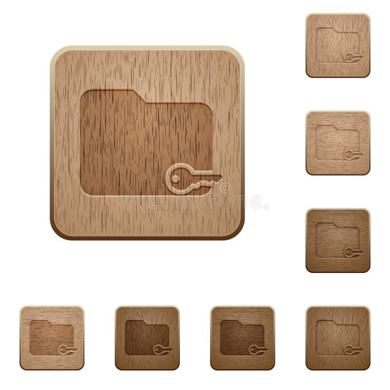 Кнопки безопасной папки деревянные бесплатная иллюстрация