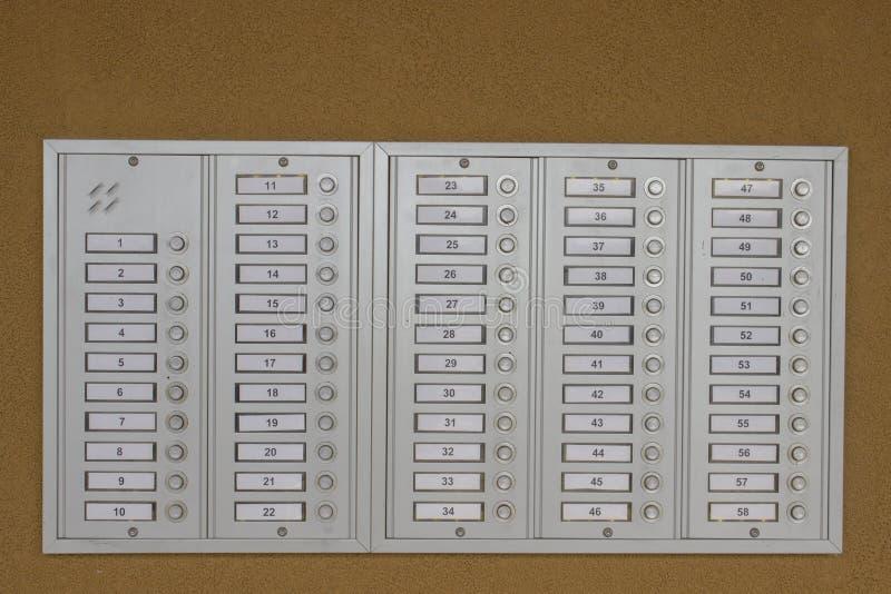 Кнопки дверного звонка стоковое изображение rf