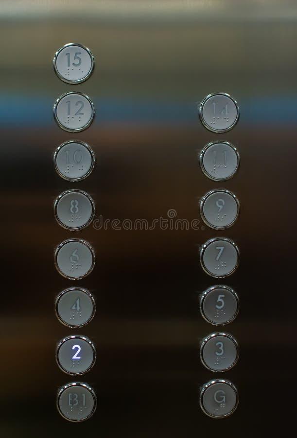 Кнопки в лифте стоковые фотографии rf