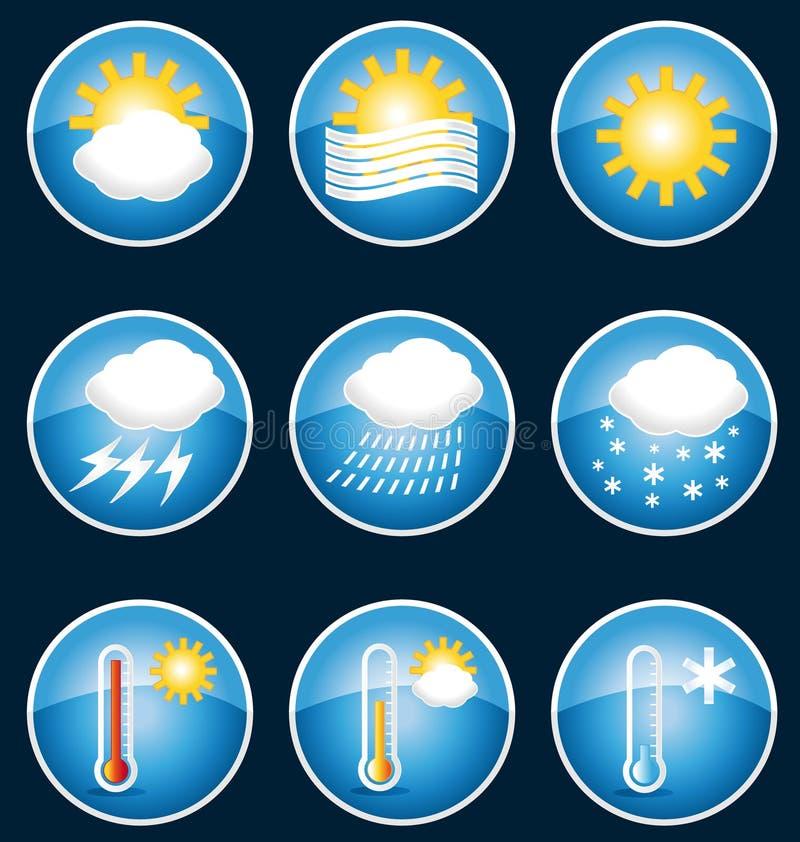 Кнопки значков погоды. иллюстрация вектора