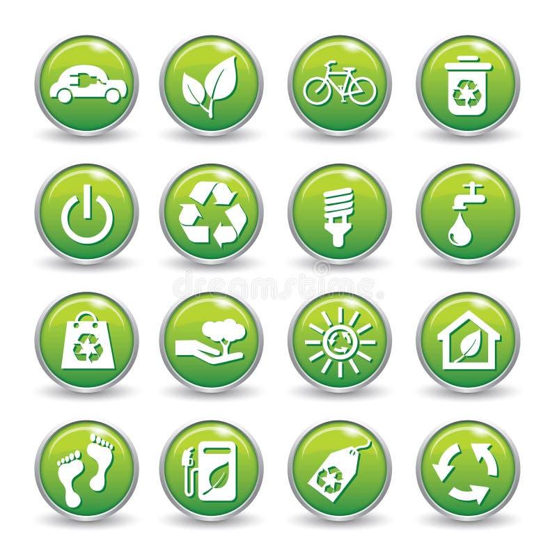 Кнопки значков сети экологичности зеленые. иллюстрация штока