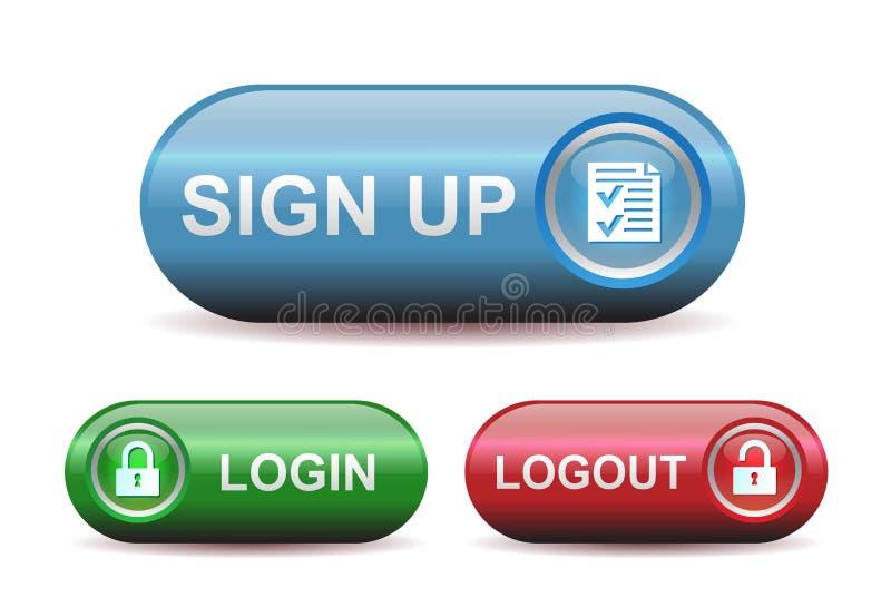 Кнопки имени пользователя и Logout иллюстрация штока