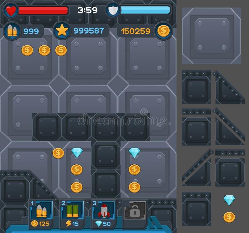 Кнопки интерфейса установили для игр или apps космоса иллюстрация вектора