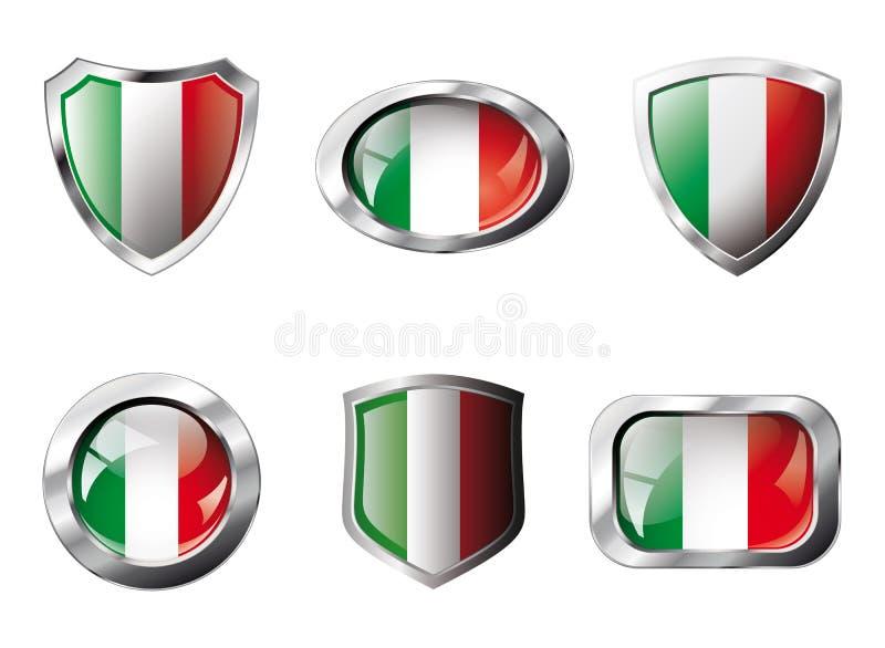 Кнопки Италии установленные глянцеватые и экраны флага иллюстрация вектора