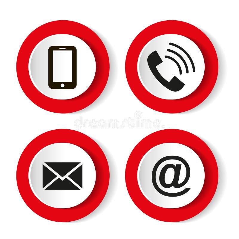 Кнопки контакта установили - электронную почту, конверт, телефон, передвижные значки также вектор иллюстрации притяжки corel бесплатная иллюстрация
