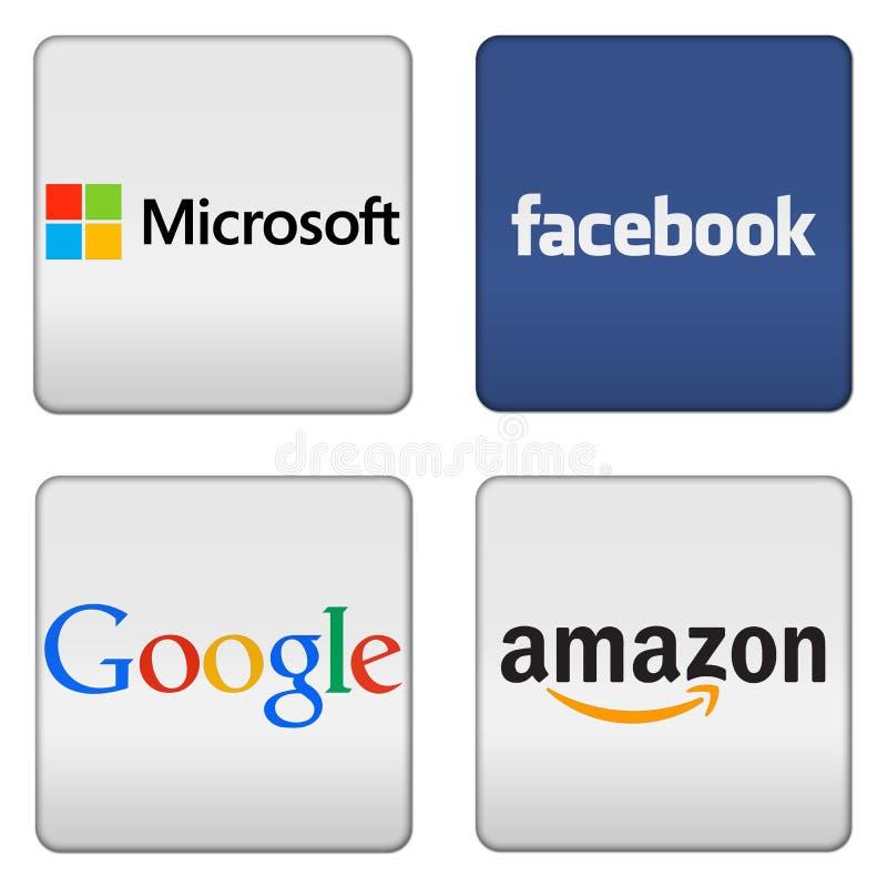 Кнопки Майкрософта Facebook Google Амазонки иллюстрация штока