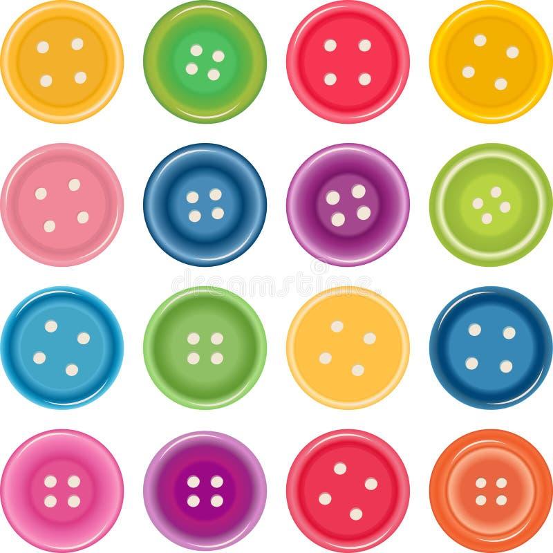 кнопки одевая комплект иллюстрации цвета иллюстрация штока