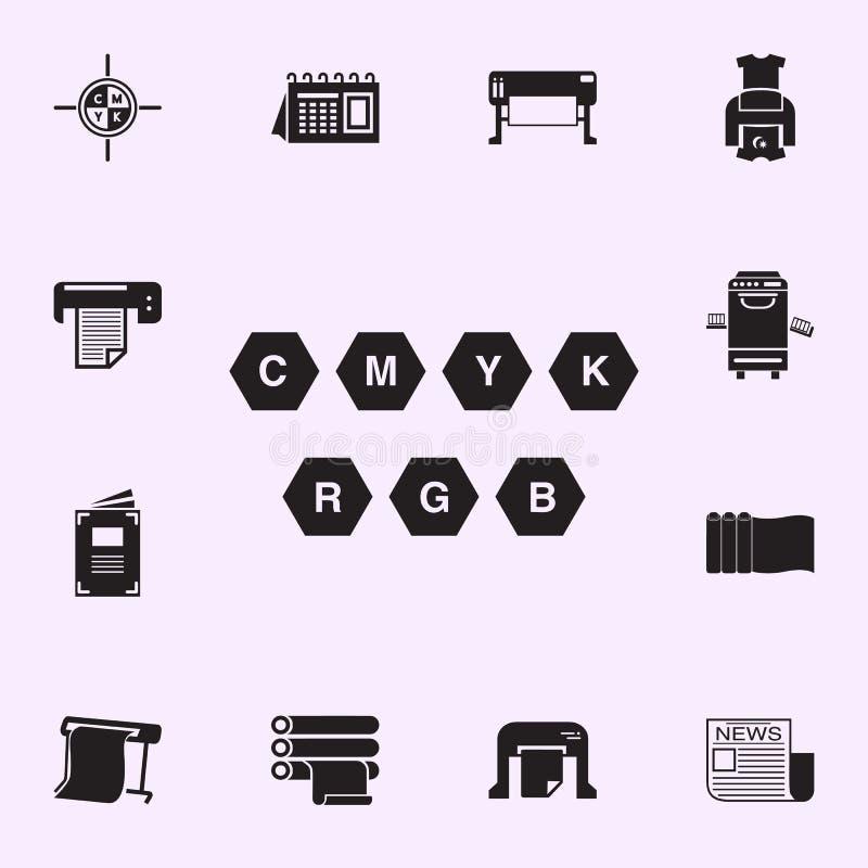кнопки печатая значка прибора Набор значков дома печати всеобщий для сети и черни иллюстрация штока
