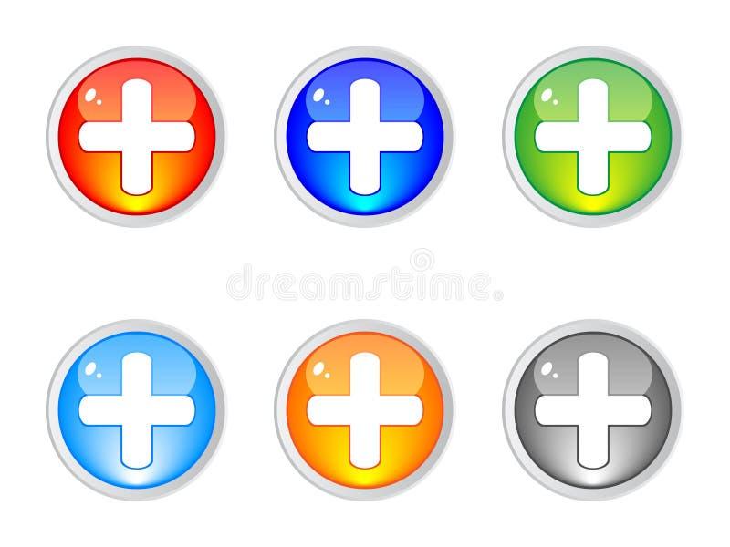 кнопки плюс бесплатная иллюстрация