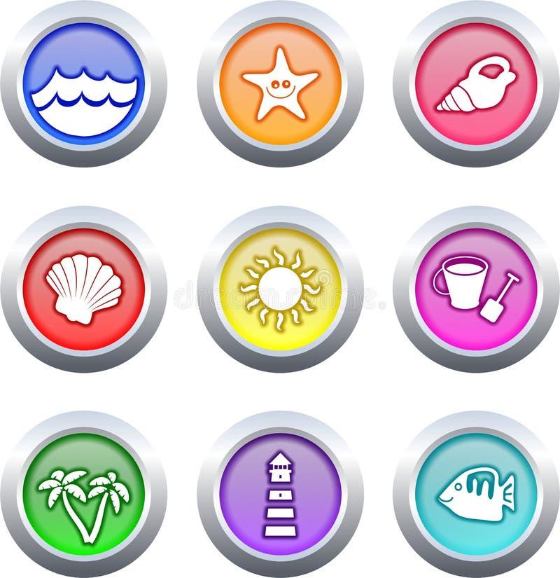 кнопки пляжа иллюстрация вектора