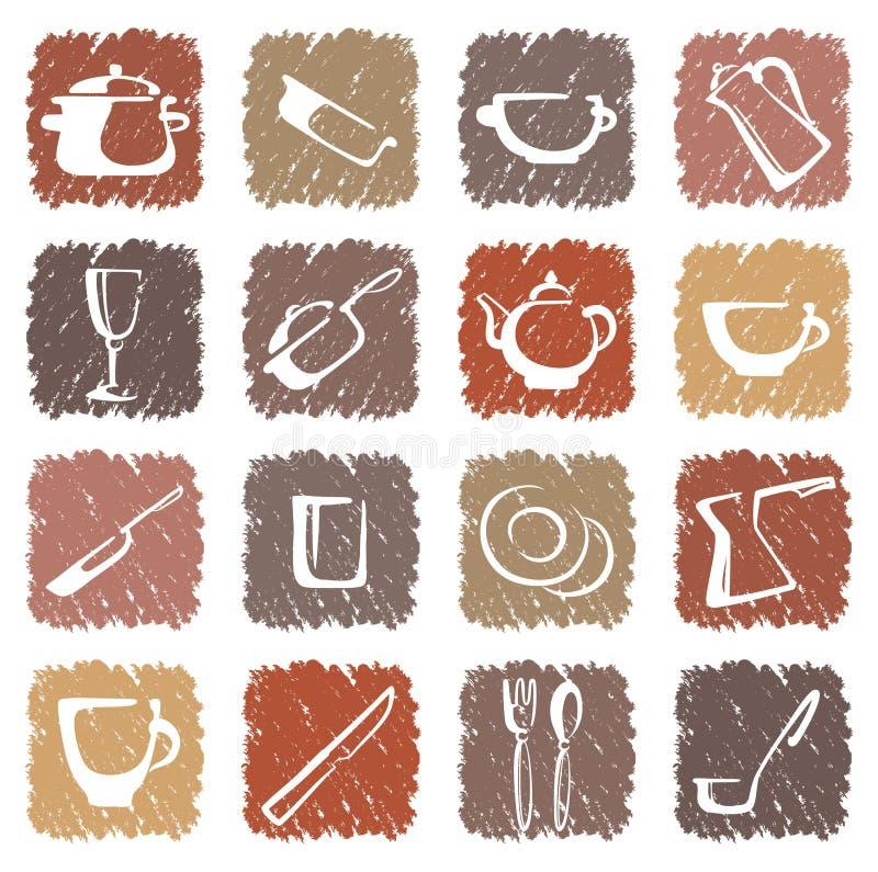 кнопки покрасили изделия кухни икон multi иллюстрация штока