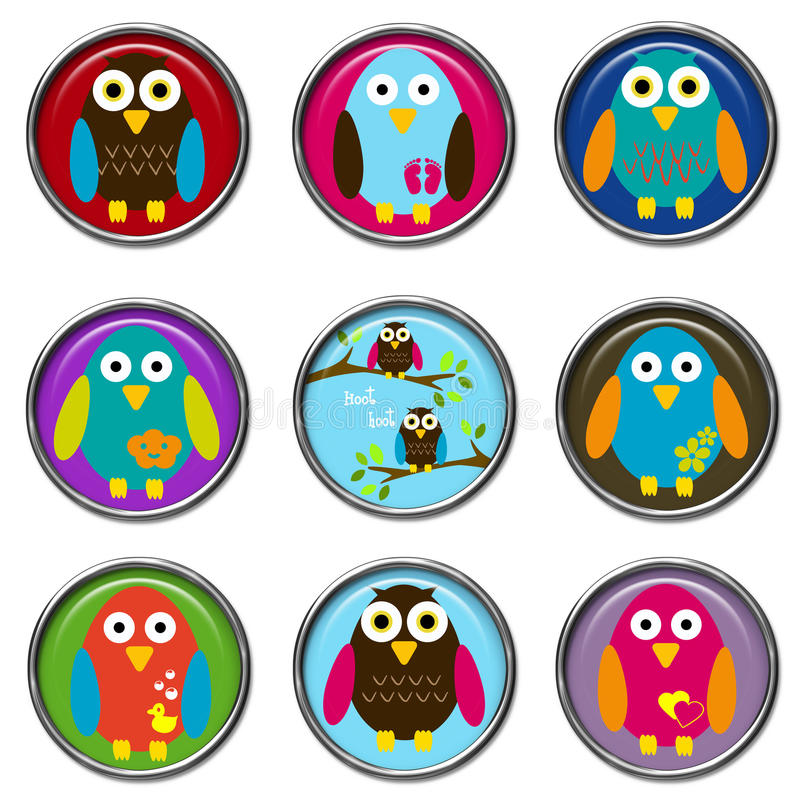 кнопки птиц 3d стоковая фотография rf